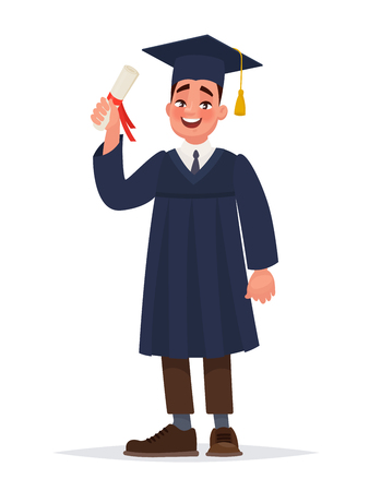 A graduate with a diploma. The guy in the mantle finished his studies at the university. Vector illustration in cartoon style Illusztráció