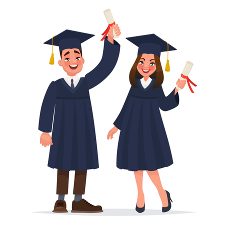 Couple of graduates with diplomas. The guy and the girl graduated from university. Vector illustration in cartoon style Çizim