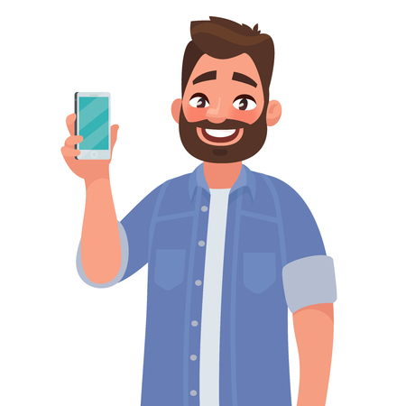 Man is showing the phone. People and gadgets. Vector illustration in cartoon style