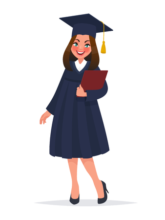 Graduate girl in mantle with diploma. Vector illustration in cartoon style Çizim