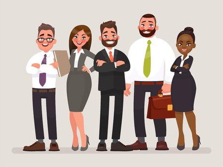 Equipo de negocios. Cooperación internacional de empresas. Ilustración de vector en estilo de dibujos animados