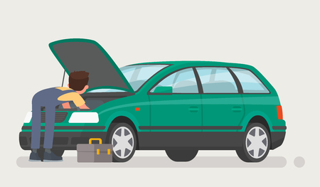 Car repairs. Auto mechanic opened the hood and repaired the car. Vector illustration in a flat style