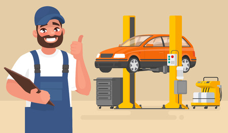 Service and repair of the car. Automechanic on the background of the car on the lift. Vector illustration in cartoon style Stock Illustratie