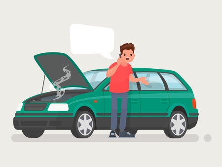 Breakdown of the car on the road. A man calls the service to help. Vector illustration in a flat style