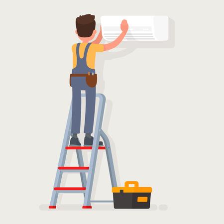 Service voor reparatie en onderhoud van airconditioners. Vector illustratie in een vlakke stijl