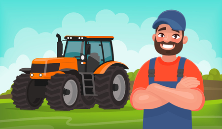 Cheerful farmer on the background of a field and a tractor. Agricultural work. Vector illustration in cartoon style