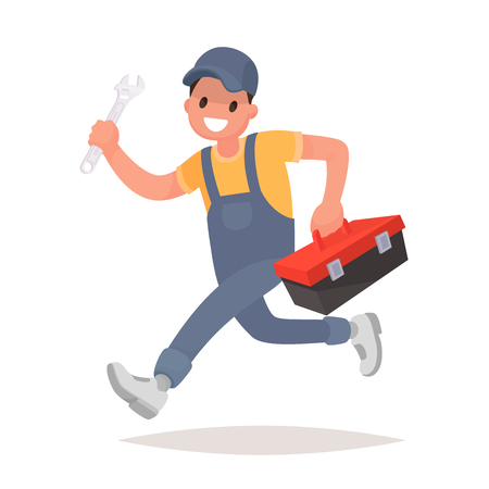 Repairman with the tools is running. Technical service. Vector illustration in a flat style Illustration