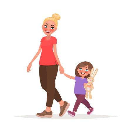 Mom and daughter are walking together. Vector illustration in cartoon style