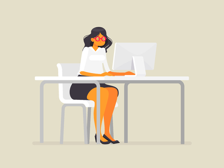 Business woman in glasses at the desk Vector illustration in a flat style Stock Illustratie