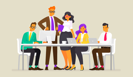 Meeting of business people Vector illustration in a flat style Vectores