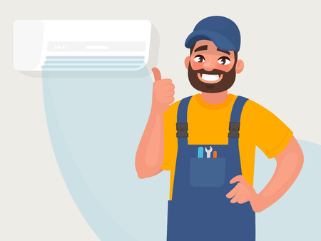 Service and repair of air conditioners. The repairman on the background of a properly functioning air conditioner. Vector illustration in cartoon style