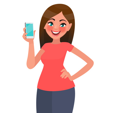 A beautiful woman is holding a smartphone. Vector illustration in cartoon style Stock Illustratie