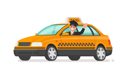 Driver is driving a taxi car. Yellow cab. Vector illustration in a flat style
