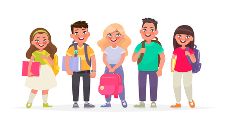 Group of happy pupils.Boys and girls with backpacks and books. Primary school children. Vector illustration in cartoon style