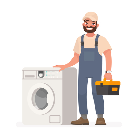 Happy repairman and washing machine. Vector illustration in cartoon style