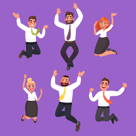 Set of happy business people jumping. Office workers celebrate the victory. Vector illustration in cartoon style