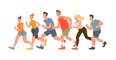 Running people. Marathon. Vector illustration in a flat style