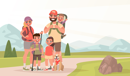 Happy family and hiking. Father, mother and children are traveling through the mountains. Trekking to nature. Vector illustration in cartoon style