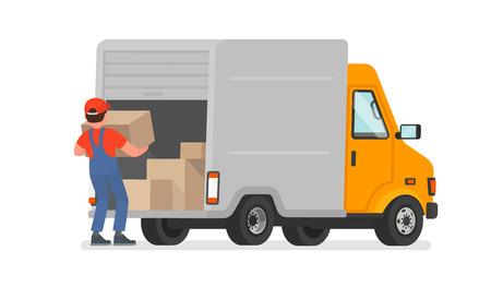 De lader laadt de goederen uit de vrachtwagen. Bezorgservice. In beweging. Vectorillustratie in een vlakke stijl Vector Illustratie