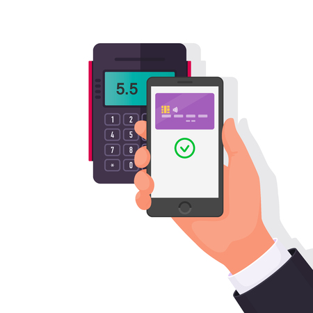 Payment for purchase via smartphone. Contactless payments. Vector illustration in a flat style