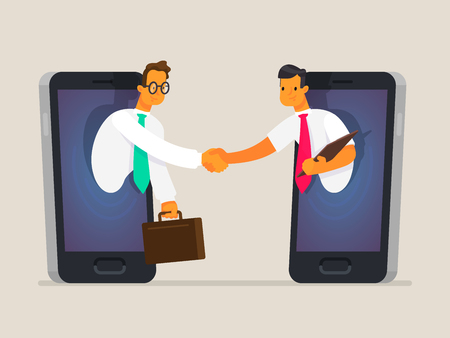 Business people shake hands through the phone screen. The concept of business communications, the sale of goods and services online, cooperation. Vector illustration in a flat style