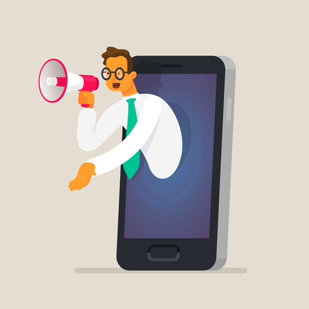 Businessman talking in a megaphone through the phone screen. The concept of digital marketing, advertising, selling goods and services over the Internet. Vector illustration in a flat style Stock Illustratie
