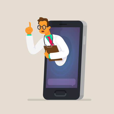 The concept of online consultation with a doctor through a smartphone. Health care services. Vector illustration in a flat style