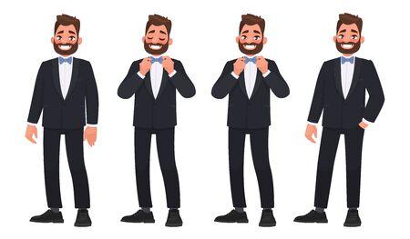 Ensemble de caractère un homme barbu dans un costume d'affaires avec un noeud papillon. Le marié. Illustration dans un style cartoon Vecteurs