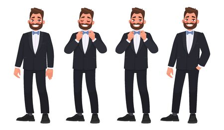 Set of character a bearded man in a business suit with a bow tie. The groom. Illustration in a cartoon style Vettoriali