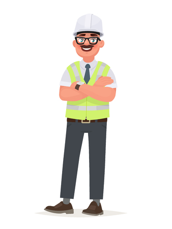 An engineer man wearing a hard hat and a protective vest. Foreman at the construction site. The factory worker, the chief. Vector illustration in cartoon style