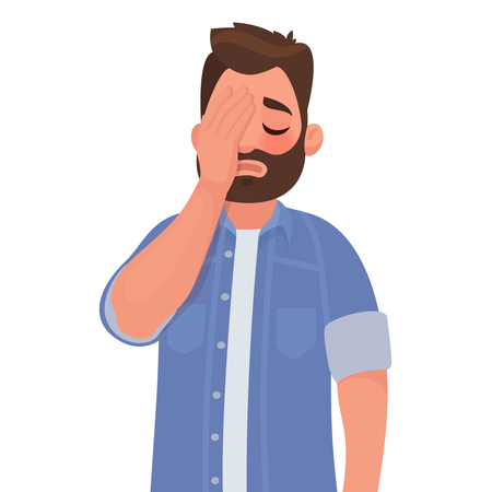 Man with a gestures facepalm. Headache, disappointment or shame. Vector illustration in cartoon style