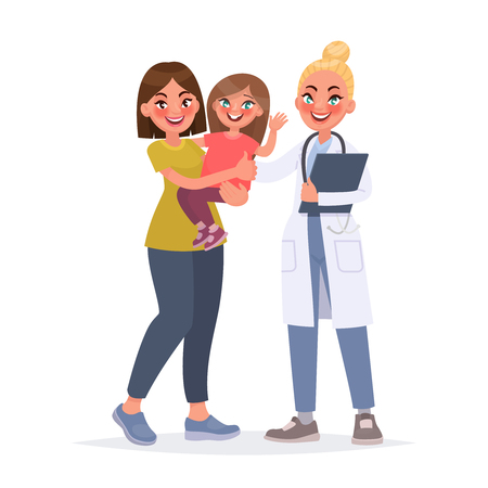 Pediatrician. Mom with a child at a reception with a child's doctor. Vector illustration in cartoon style