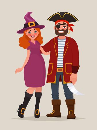 Couple of  celebrate Halloween. A man in a pirate costume and a woman dressed as a witch at a masquerade party. Vector illustration in cartoon style