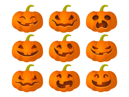 Set of pumpkins with different expressions for the Halloween party. Vector illustration in cartoon style