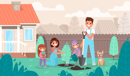Happy family is planting a tree in the garden. Parents and children are resting in a country house in nature. Vector illustration in a flat style