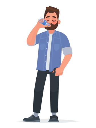 Handsome man drinking water from a bottle. Thirst. The concept of a healthy lifestyle. Vector illustration in cartoon style. Çizim