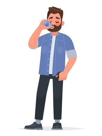Trinkwasser des gutaussehenden Mannes aus einer Flasche. Durst. Das Konzept eines gesunden Lebensstils. Vektorillustration im Cartoon-Stil. Vektorgrafik