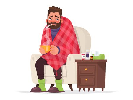 Sick man. Flu, viral disease. Illustration in cartoon style