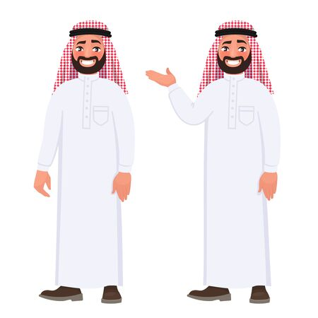 Happy arab man in national clothes on white background. Illustration in cartoon style.
