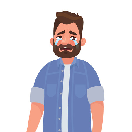 Upset man crying. Resentment and pain. Vector illustration in cartoon style.
