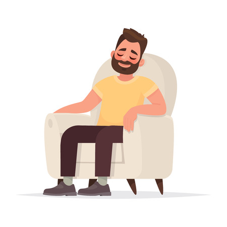 Bearded man sits in an armchair and sleeps. A person is resting or thinking about something good. Vector illustration in cartoon style.