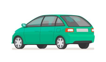 Car rear view on a white background. Family vehicle. Vector illustration in cartoon style