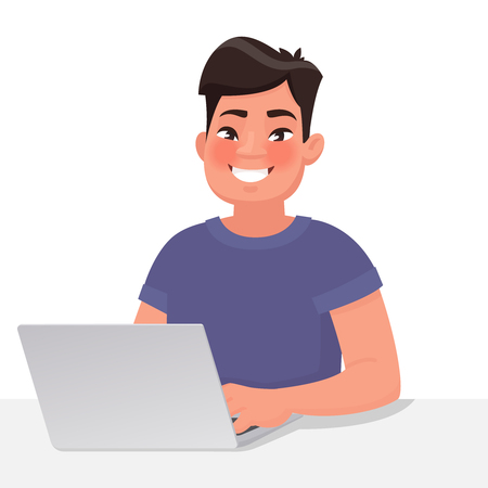 Happy Asian man behind a laptop monitor. Work at the computer. Vector illustration in cartoon style