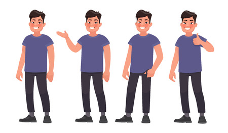 Set of character a handsome Asian man in casual wear in different poses. Vector illustration in cartoon style Çizim