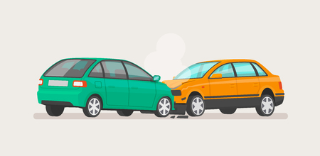 Car accident. Two broken cars. Vector illustration for vehicle insurance.