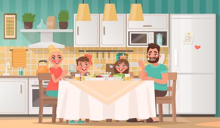 Famiglia felice che mangia in cucina. Padre, madre, figlio e figlia fanno colazione al tavolo di casa. Illustrazione vettoriale in stile cartone animato.