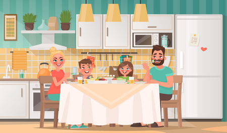 Happy family eating in the kitchen. Father, mother, son and daughter have breakfast at the table at home. Vector illustration in cartoon style. Vettoriali