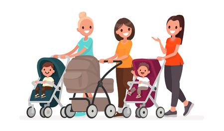 엄마 그룹은 유모차에 유아를 타고 의사 소통합니다. 아이들과 함께하는 젊은 엄마들의 산책. 평면 스타일의 벡터 일러스트 레이 션
