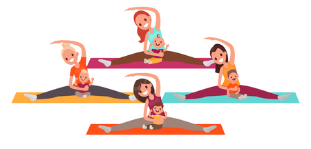 Group of young mothers doing yoga with the kids. Women do fitness with children. Vector illustration in flat style