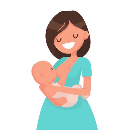 La madre felice sta allattando un bambino. Illustrazione vettoriale in stile piatto